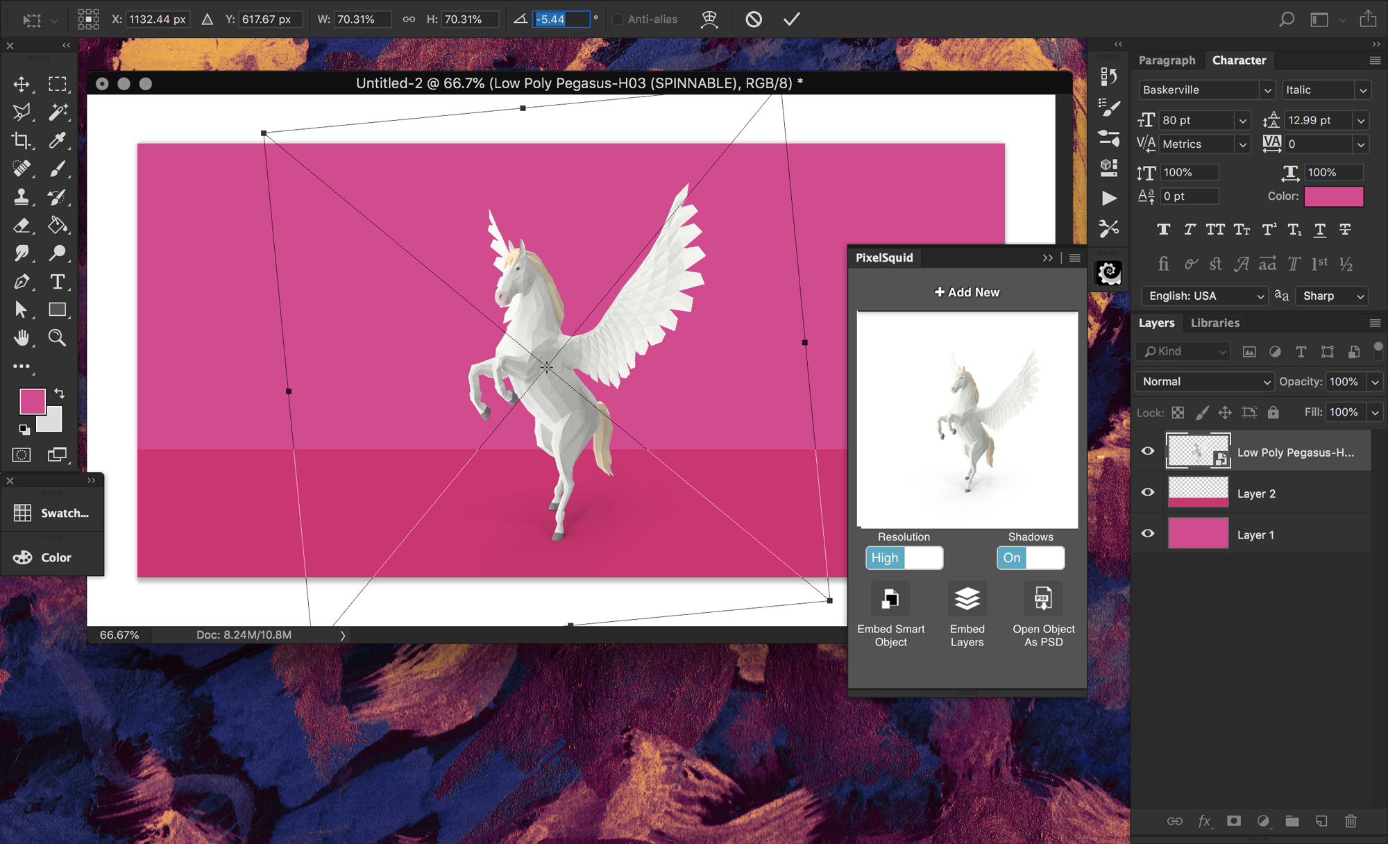 Low-poly pegasus unicorn from PixelSuid