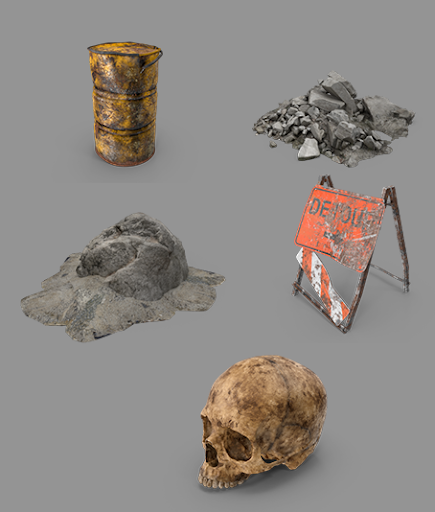 Select objects from the PixelSquid Rubble Collection