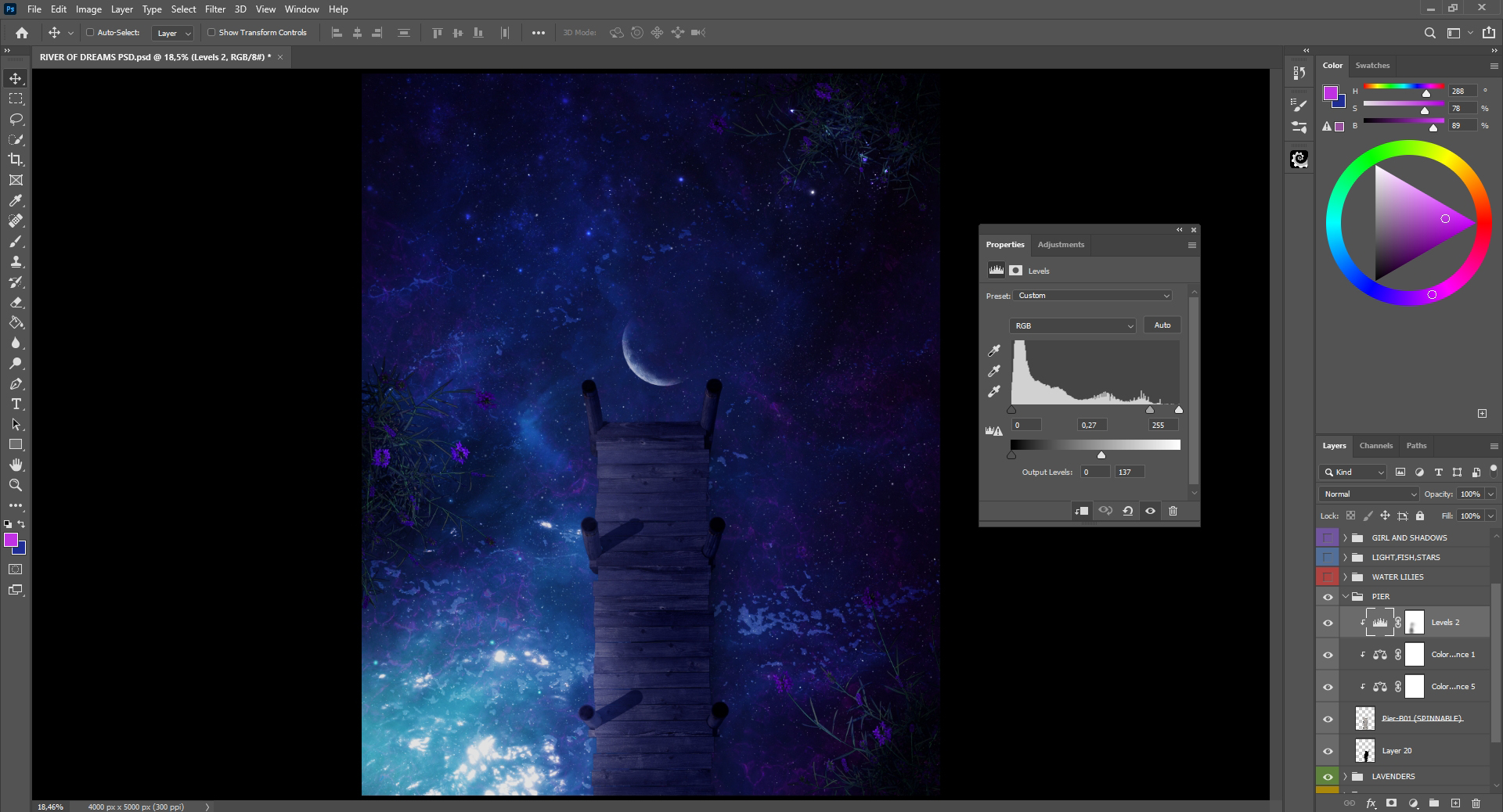 Applying color balance in step 13