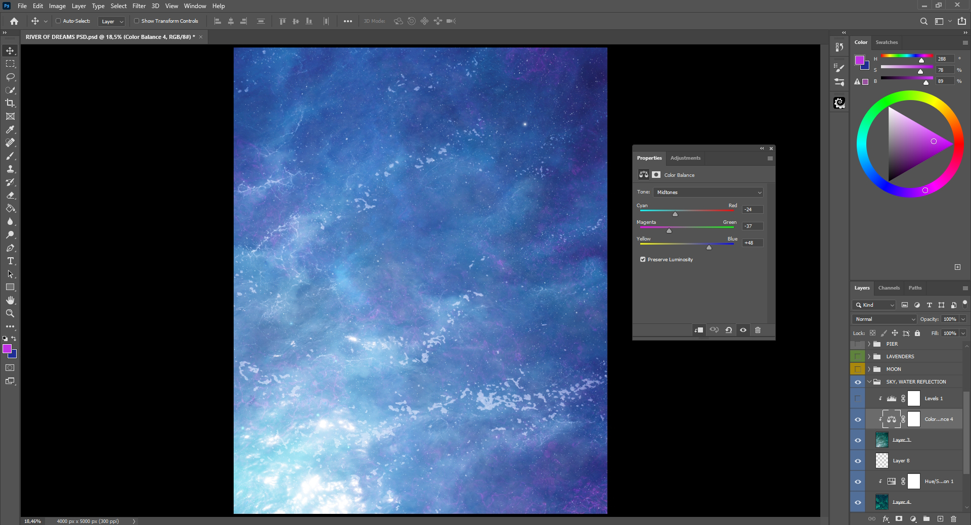 Color balance in step 7
